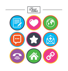 mail contact icons communication signs vector image