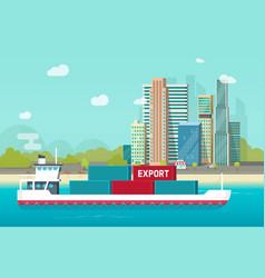 Big container ship sailing in ocean or sea port vector
