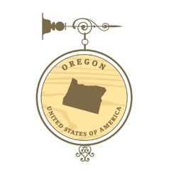 Vintage label oregon vector