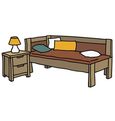 Bed and table vector