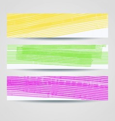 Colorful painted headers set vector