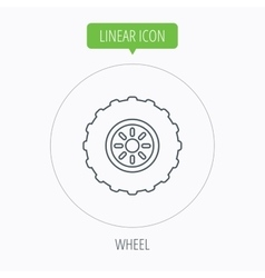 Tractor wheel icon tire service sign vector