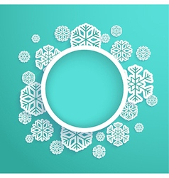 Christmas paper card with snowflakes vector image