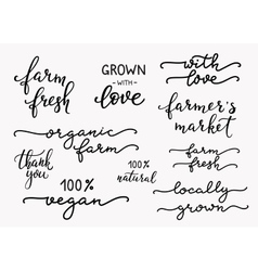 Hand written organic farm messages set vector