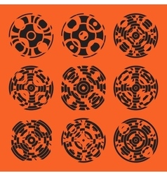 Abstract hightech collection set of 9 radars vector