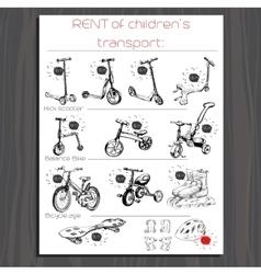 Brochure for rent children transport kick vector