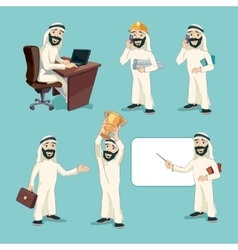 Arab businessman in different actions vector