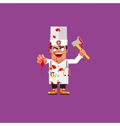 Bloody medical doctor for halloween in a flat vector image vector image