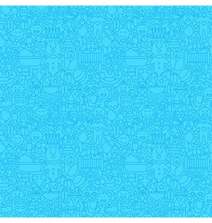 Blue thin line baby boy seamless pattern vector