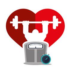 Bodybuilder fitness heart weight scale chronometer vector