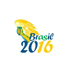 Brasil 2016 summer games athlete hand flaming vector