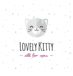 cartoon cat head logo Flat logotype vector image vector image