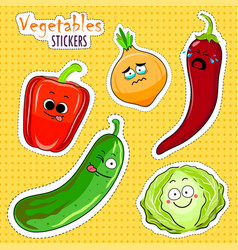 cartoon vegetable cute characters face stickers vector image vector image