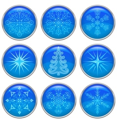 Christmas buttons set vector image