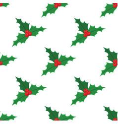 Christmas red mistletoe pattern vector