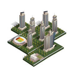 city isometric with school and stadium vector image