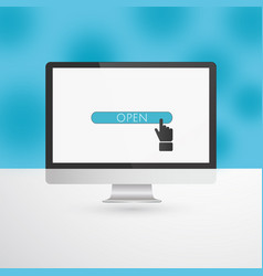 computer monitor with blue open button and hand vector image vector image
