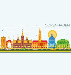 Copenhagen skyline with color landmarks and blue vector