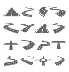 Curved roads set vector image