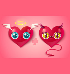 devil and angel hearts vector image vector image