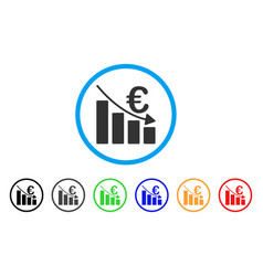 Euro recession bar chart rounded icon vector