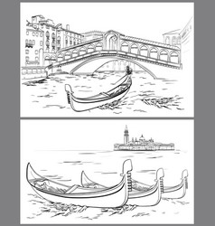 hand drawn rialto bridge and lido island venice vector image vector image