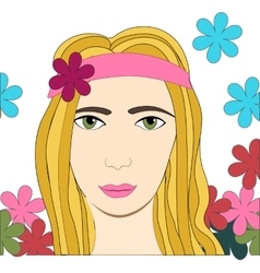 Hippie girl with flowers vector