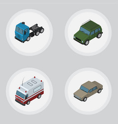 isometric car set of auto armored truck and vector image vector image