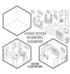 isometric living room interior constructor vector image