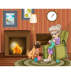 Old woman sitting knitting with dog besides vector