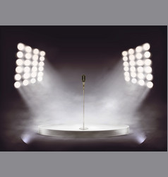 realistic stage with microphone and smoke vector image vector image