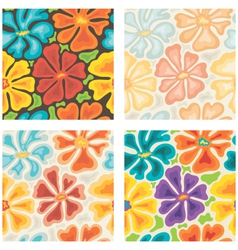 seamless colored floral patterns vector image vector image