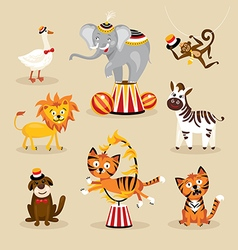 Set of cute circus animals vector