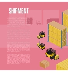 Shipment isometric concept with warehouse vector