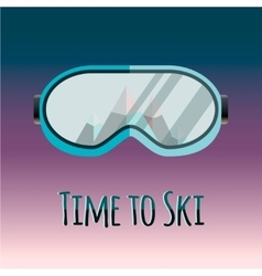 Ski goggles with reflection of mountains vector image vector image