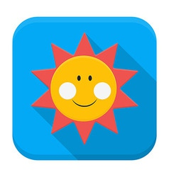 Smiling sun over sky app icon with long shadow vector