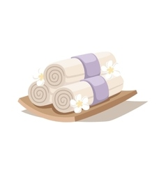 Spa decorative symbols set with bamboo towels vector image