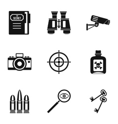 Spy icons set simple style vector image