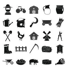 Village farm objects in black simple silhouette vector