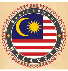 Vintage label cards of Malaysia flag vector image vector image