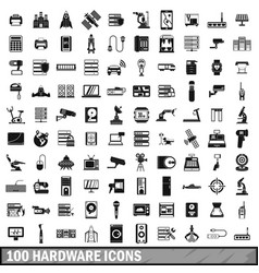 100 hardware icons set simple style vector