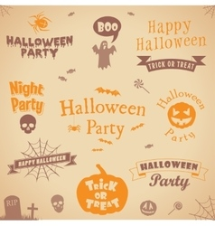 Set of halloween labels and elements vector