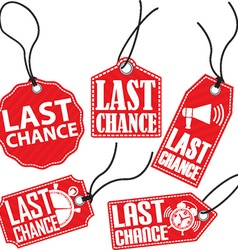 Limited chance red tag set vector
