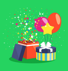 Air ball balloon giftbox gift and confetti on vector