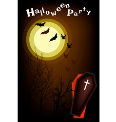 An open coffin on halloween night background vector