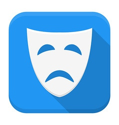 Tragedy mask app icon with long shadow vector