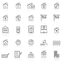 Real estate line icons with reflect on white vector