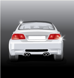 Silver sport car - back view vector
