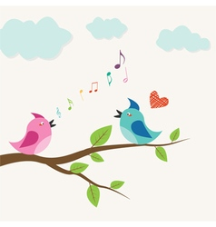 Singing bird in love on a branch vector