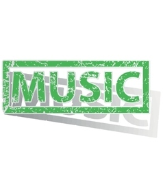 Green outlined music stamp vector